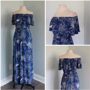 SOMA Medium Blue Floral Dress Off-Shoulder Ruffle